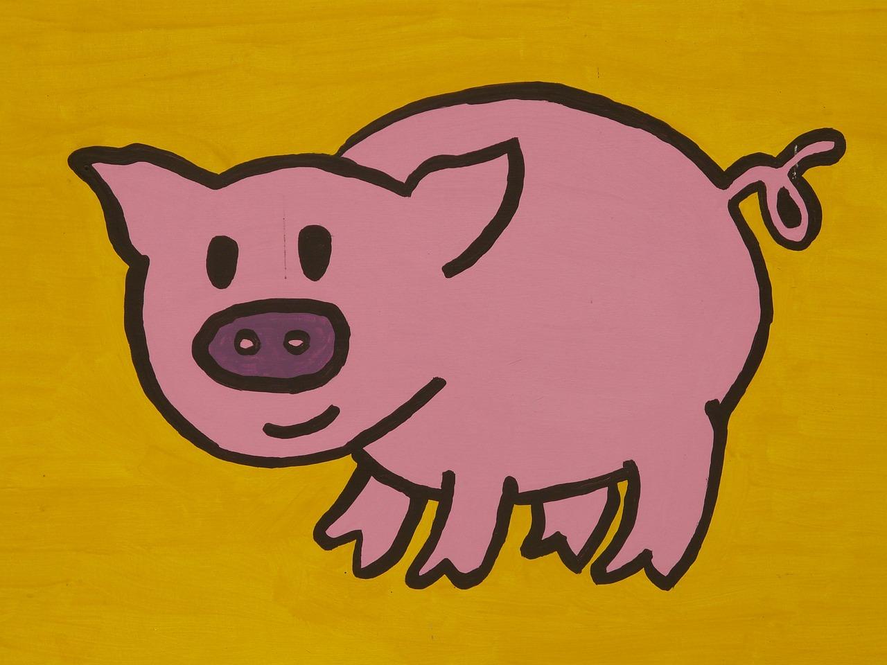Dessin de petit cochon joyeux